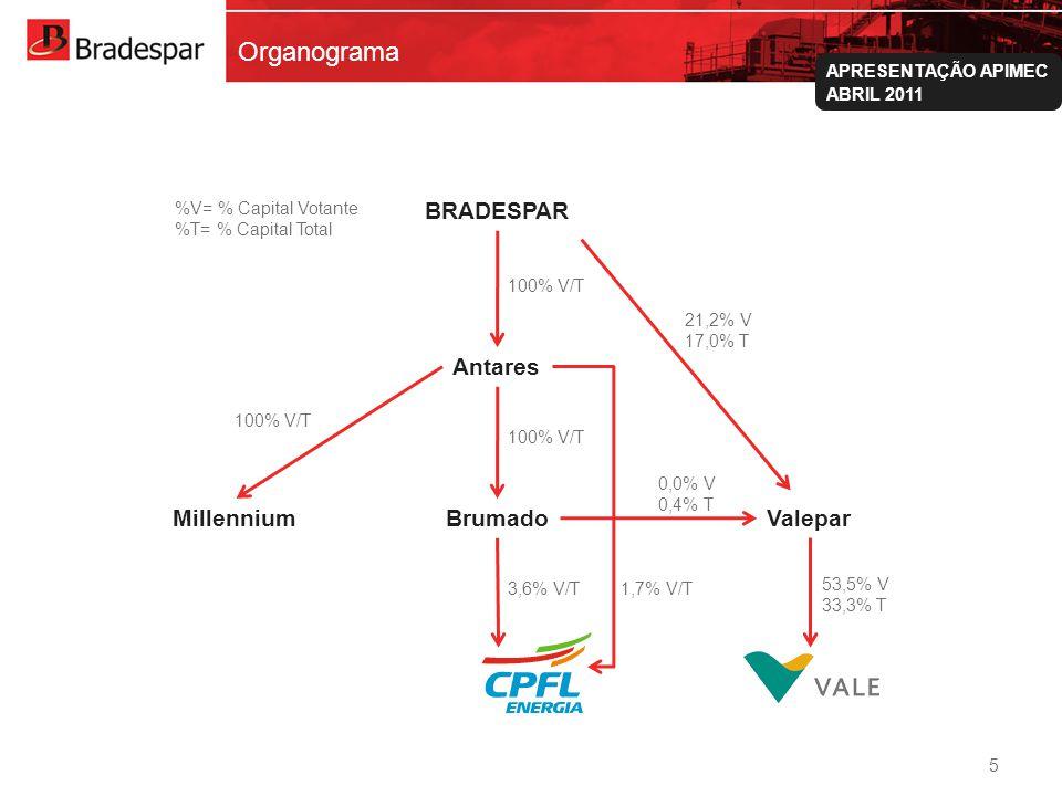 Institucional APRESENTAÇÃO APIMEC ABRIL 2011 Organograma 5 100% V/T BRADESPAR Antares BrumadoMillenniumValepar 100% V/T 3,6% V/T1,7% V/T 21,2% V 17,0%