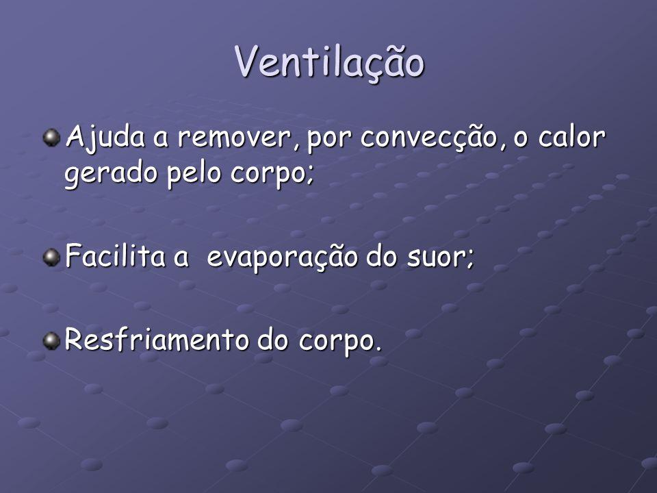 Ventilação Ajuda a remover, por convecção, o calor gerado pelo corpo; Facilita a evaporação do suor; Resfriamento do corpo.