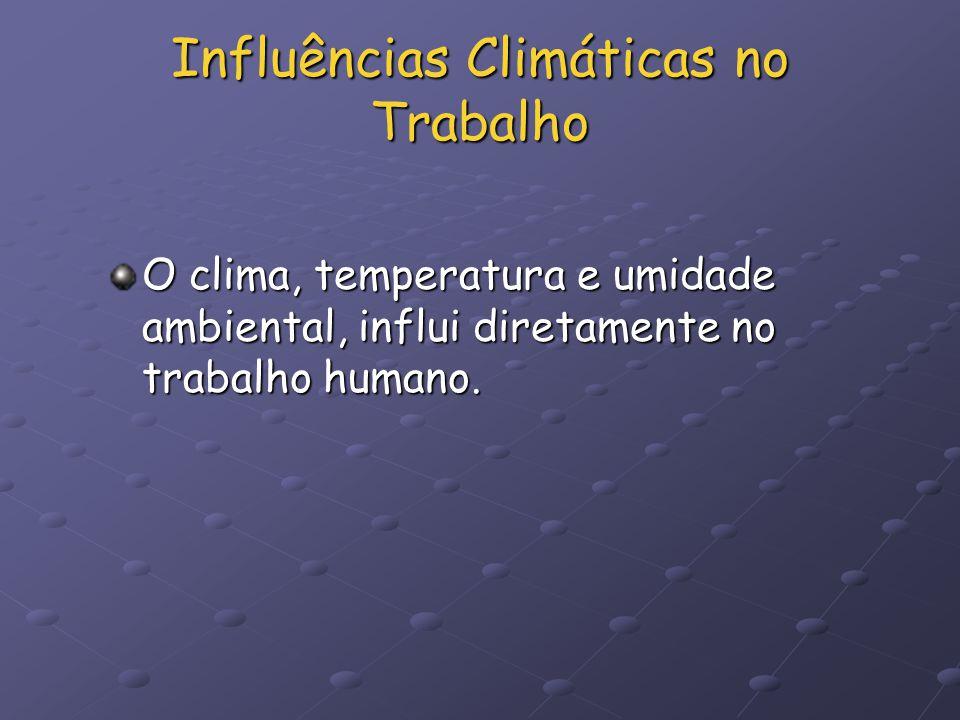 Influências Climáticas no Trabalho O clima, temperatura e umidade ambiental, influi diretamente no trabalho humano.