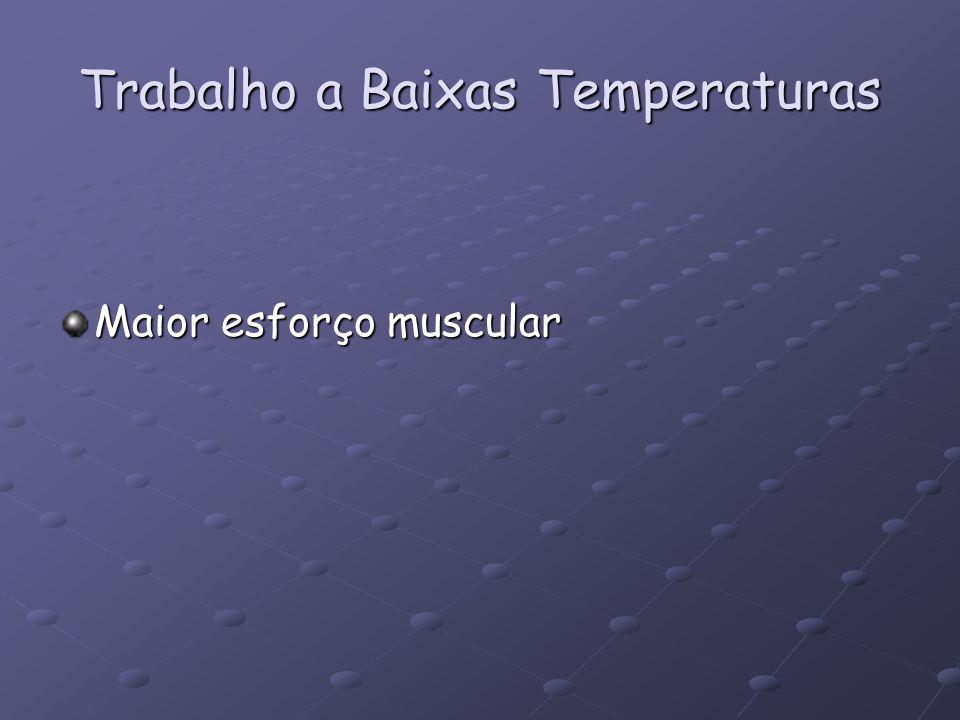 Trabalho a Baixas Temperaturas Maior esforço muscular