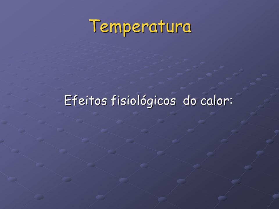Temperatura Efeitos fisiológicos do calor: Efeitos fisiológicos do calor: