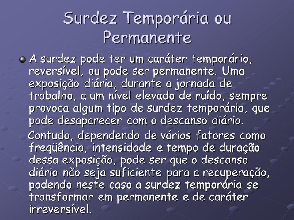 Surdez Temporária ou Permanente A surdez pode ter um caráter temporário, reversível, ou pode ser permanente. Uma exposição diária, durante a jornada d
