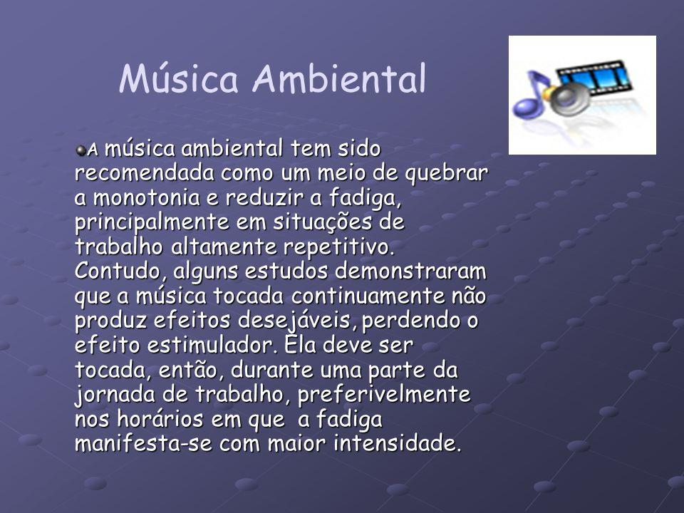 Música Ambiental A música ambiental tem sido recomendada como um meio de quebrar a monotonia e reduzir a fadiga, principalmente em situações de trabal