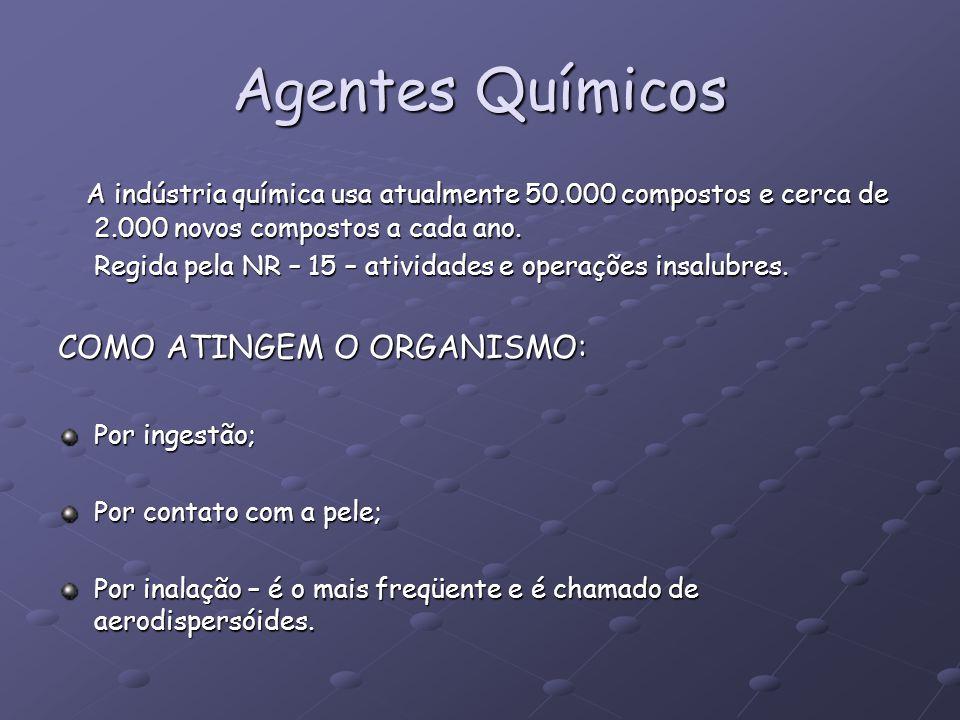 Agentes Químicos A indústria química usa atualmente 50.000 compostos e cerca de 2.000 novos compostos a cada ano. A indústria química usa atualmente 5
