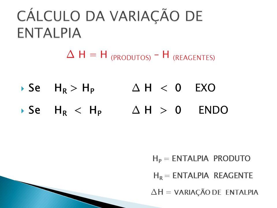 H = H (PRODUTOS) – H (REAGENTES) Se H R > H P H < 0 EXO Se H R 0 ENDO H P = ENTALPIA PRODUTO H R = ENTALPIA REAGENTE H = VARIAÇÃO DE ENTALPIA