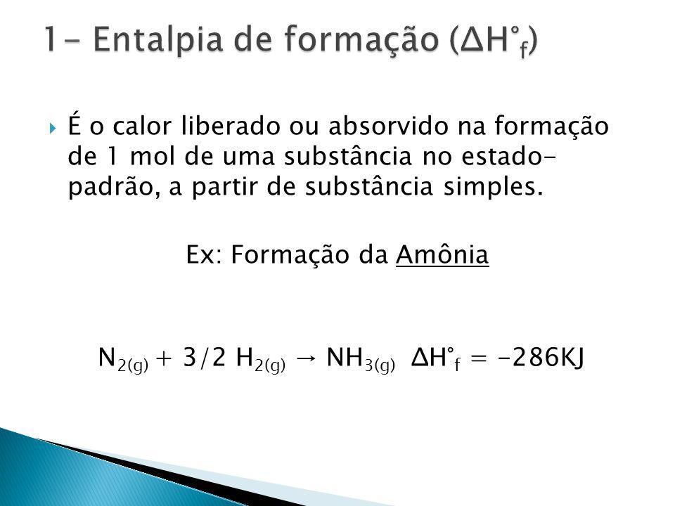 É o calor liberado ou absorvido na formação de 1 mol de uma substância no estado- padrão, a partir de substância simples.