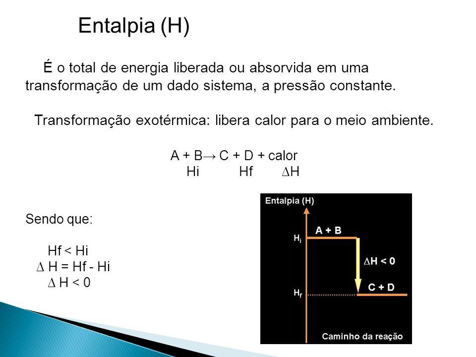 Entalpia (H) É o total de energia liberada ou absorvida em uma transformação de um dado sistema, a pressão constante.