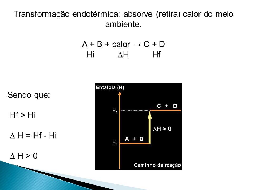 Transformação endotérmica: absorve (retira) calor do meio ambiente.