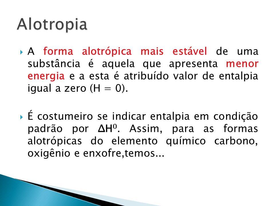 A forma alotrópica mais estável de uma substância é aquela que apresenta menor energia e a esta é atribuído valor de entalpia igual a zero (H = 0).