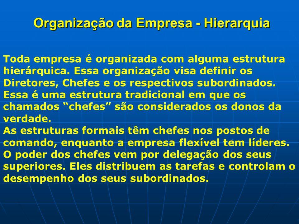 Organização da Empresa - Hierarquia Toda empresa é organizada com alguma estrutura hierárquica.