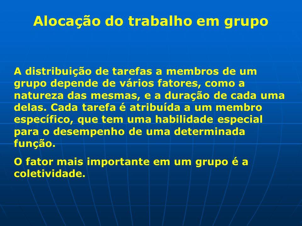 Alocação do trabalho em grupo A distribuição de tarefas a membros de um grupo depende de vários fatores, como a natureza das mesmas, e a duração de cada uma delas.