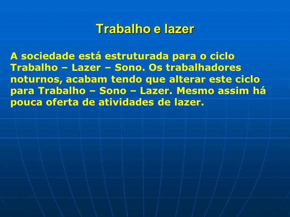 Trabalho e lazer A sociedade está estruturada para o ciclo Trabalho – Lazer – Sono.