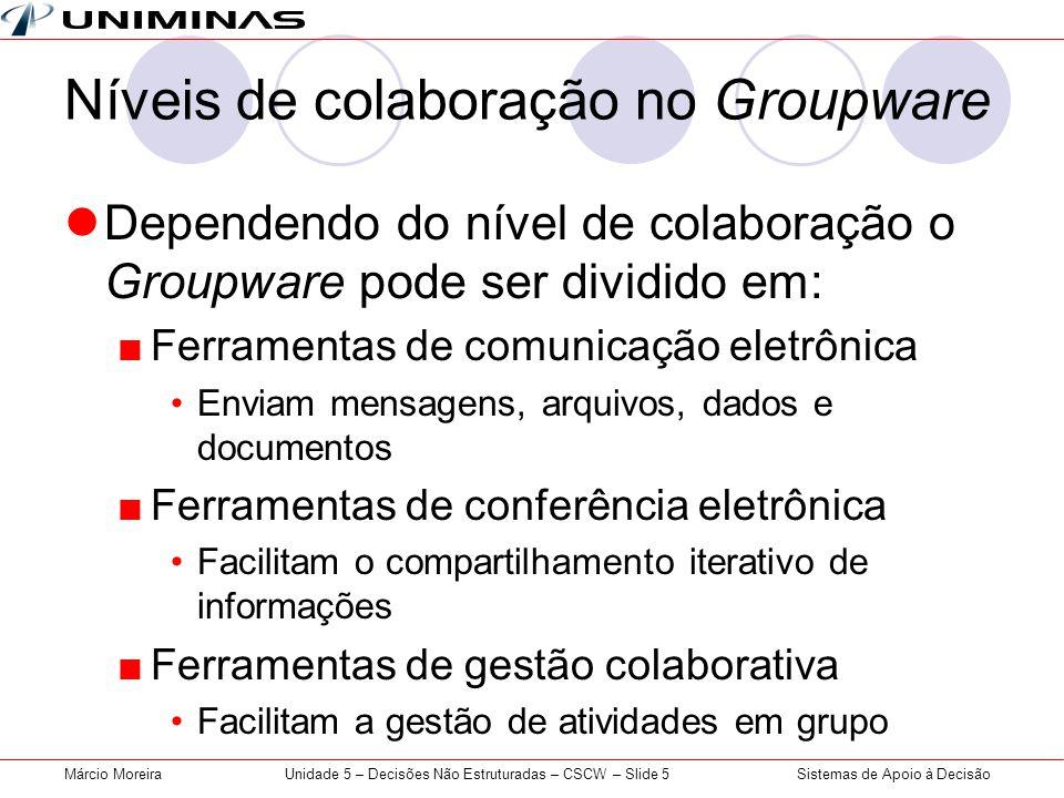 Sistemas de Apoio à DecisãoMárcio MoreiraUnidade 5 – Decisões Não Estruturadas – CSCW – Slide 5 Níveis de colaboração no Groupware Dependendo do nível