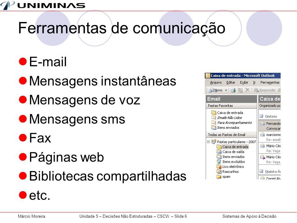Sistemas de Apoio à DecisãoMárcio MoreiraUnidade 5 – Decisões Não Estruturadas – CSCW – Slide 6 Ferramentas de comunicação E-mail Mensagens instantâne