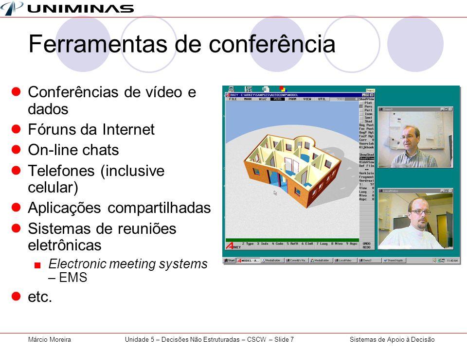Sistemas de Apoio à DecisãoMárcio MoreiraUnidade 5 – Decisões Não Estruturadas – CSCW – Slide 7 Ferramentas de conferência Conferências de vídeo e dad