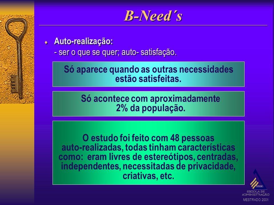 MESTRADO 2001 B-Need´s Auto-realização: - ser o que se quer; auto- satisfação. Auto-realização: - ser o que se quer; auto- satisfação. Só aparece quan