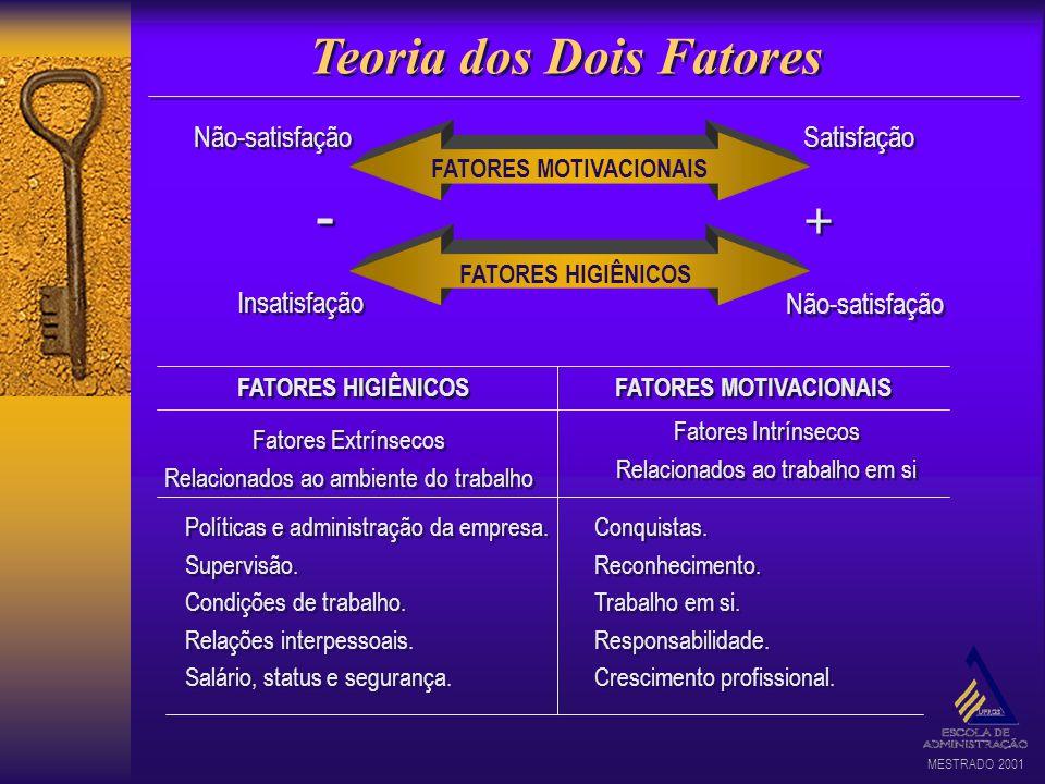 MESTRADO 2001 Teoria dos Dois Fatores FATORES MOTIVACIONAIS Não-satisfação Insatisfação Satisfação - - + + FATORES HIGIÊNICOS FATORES MOTIVACIONAIS Fa