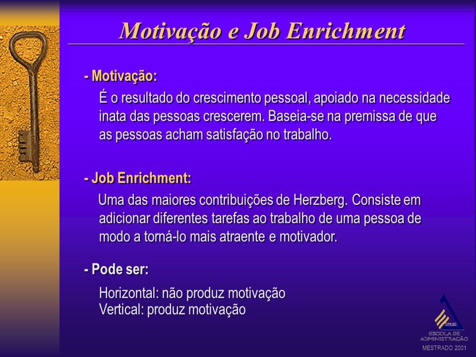 MESTRADO 2001 Motivação e Job Enrichment - Motivação: É o resultado do crescimento pessoal, apoiado na necessidade inata das pessoas crescerem. Baseia