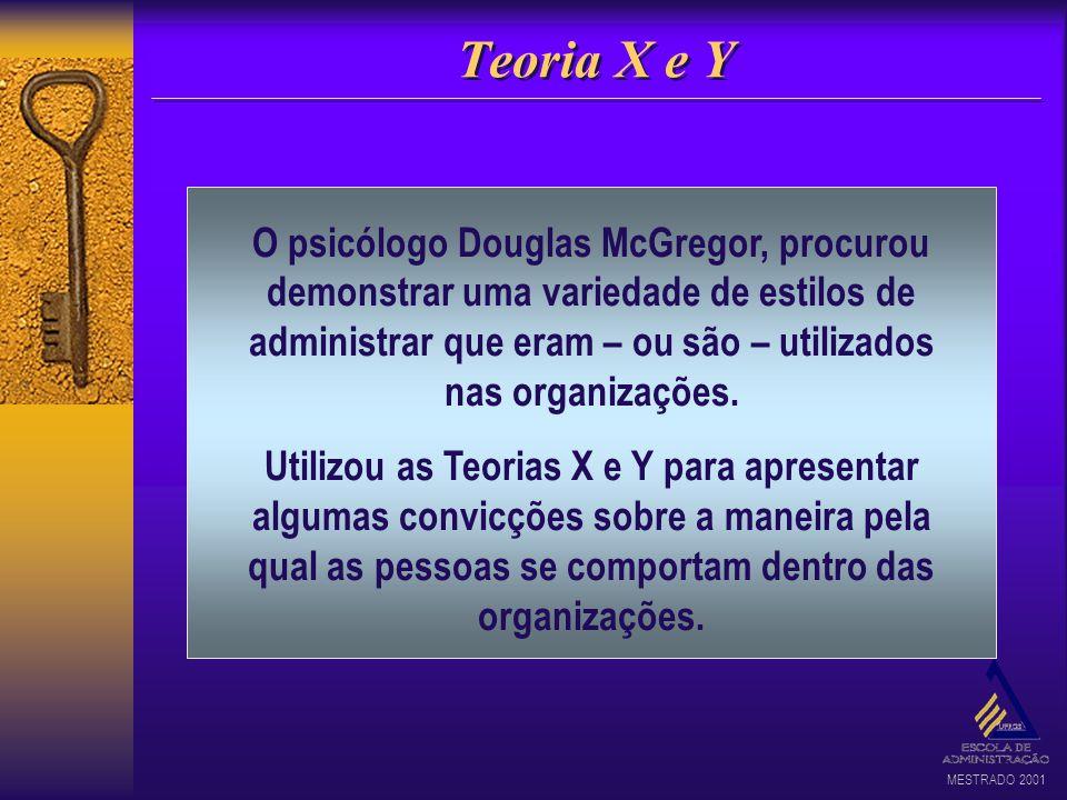 MESTRADO 2001 Teoria X e Y O psicólogo Douglas McGregor, procurou demonstrar uma variedade de estilos de administrar que eram – ou são – utilizados na