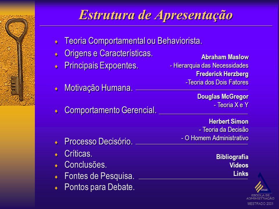MESTRADO 2001 Estrutura de Apresentação Teoria Comportamental ou Behaviorista. Origens e Características. Principais Expoentes. Motivação Humana. Comp