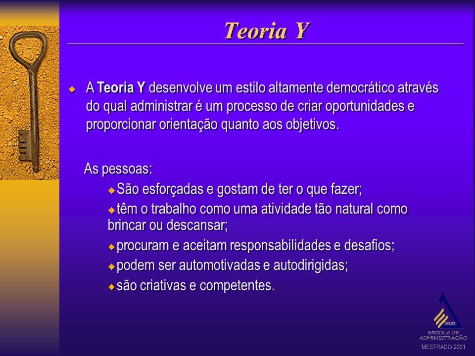 MESTRADO 2001 Teoria Y A Teoria Y desenvolve um estilo altamente democrático através do qual administrar é um processo de criar oportunidades e propor
