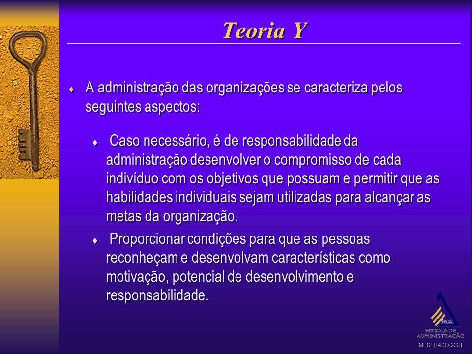 MESTRADO 2001 Teoria Y A administração das organizações se caracteriza pelos seguintes aspectos: Caso necessário, é de responsabilidade da administraç