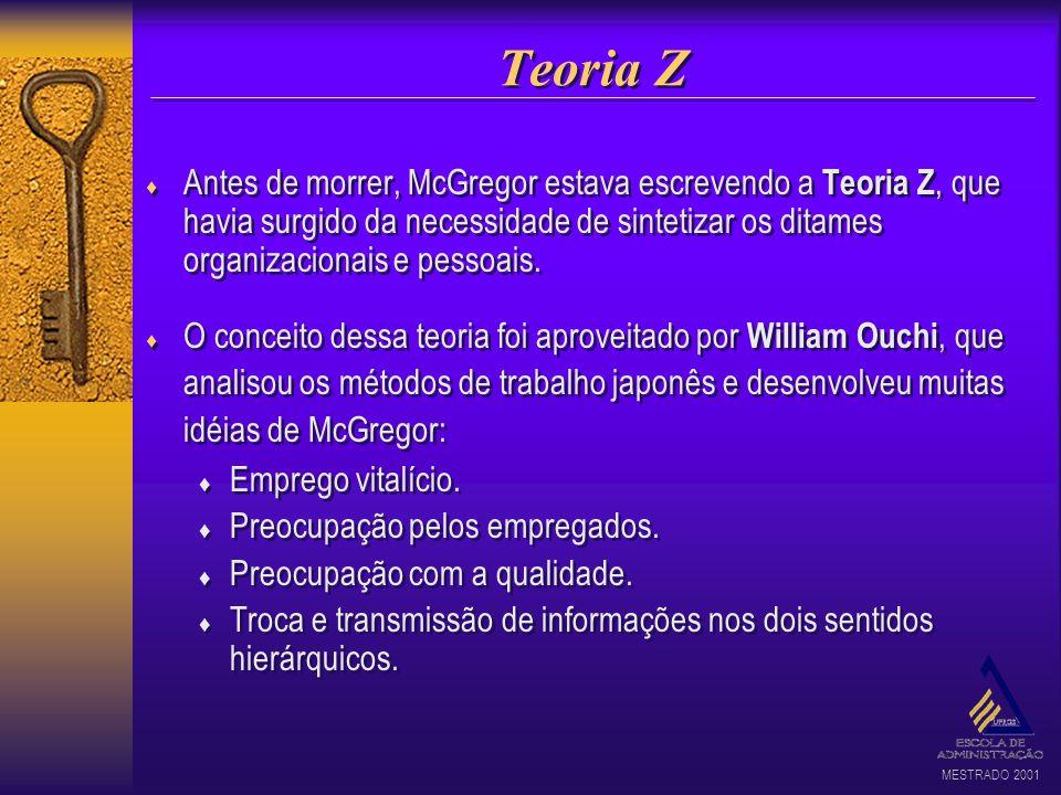 MESTRADO 2001 Teoria Z Antes de morrer, McGregor estava escrevendo a Teoria Z, que havia surgido da necessidade de sintetizar os ditames organizaciona