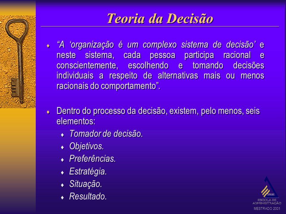 MESTRADO 2001 Teoria da Decisão A organização é um complexo sistema de decisão e neste sistema, cada pessoa participa racional e conscientemente, esco