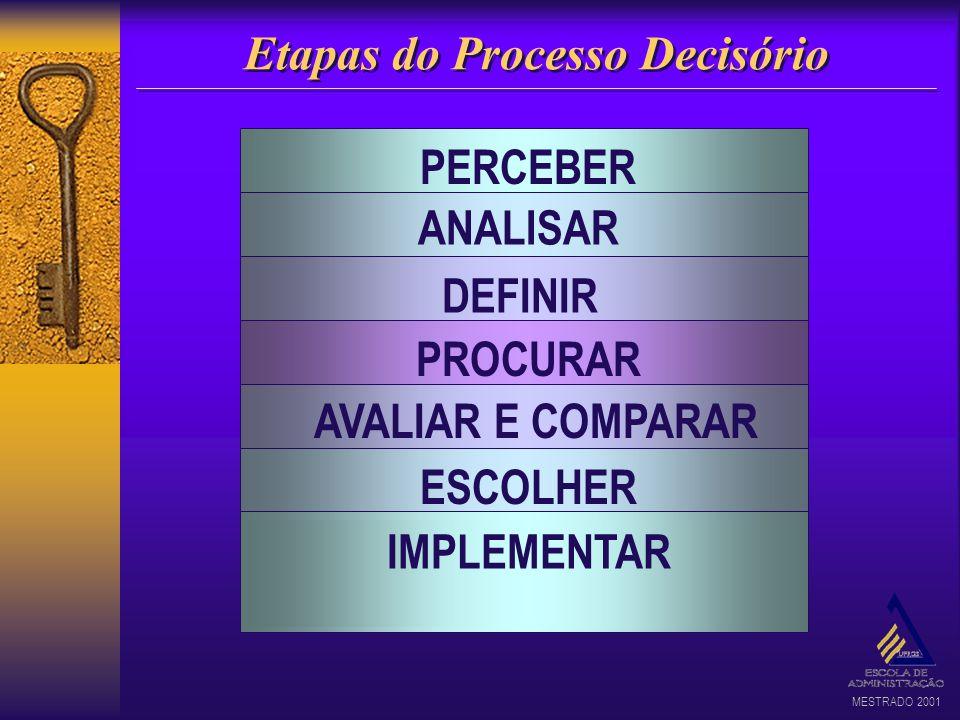 MESTRADO 2001 Etapas do Processo Decisório PERCEBER a situação ANALISAR o problema DEFINIR os objetivos PROCURAR alternativas de solução AVALIAR E COM