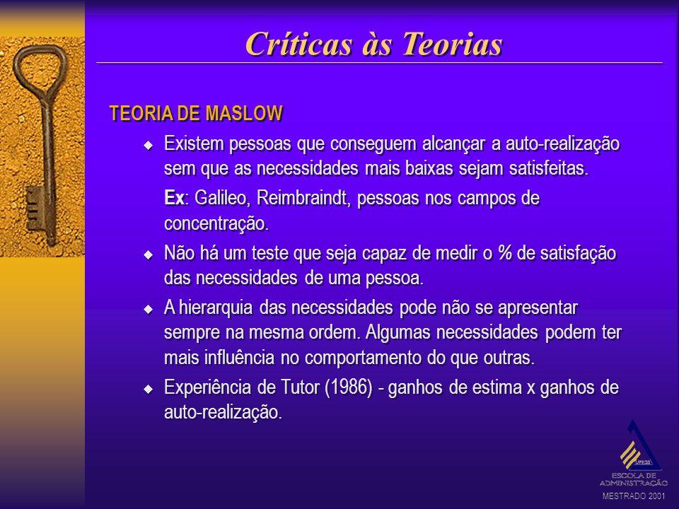 MESTRADO 2001 Críticas às Teorias TEORIA DE MASLOW Existem pessoas que conseguem alcançar a auto-realização sem que as necessidades mais baixas sejam