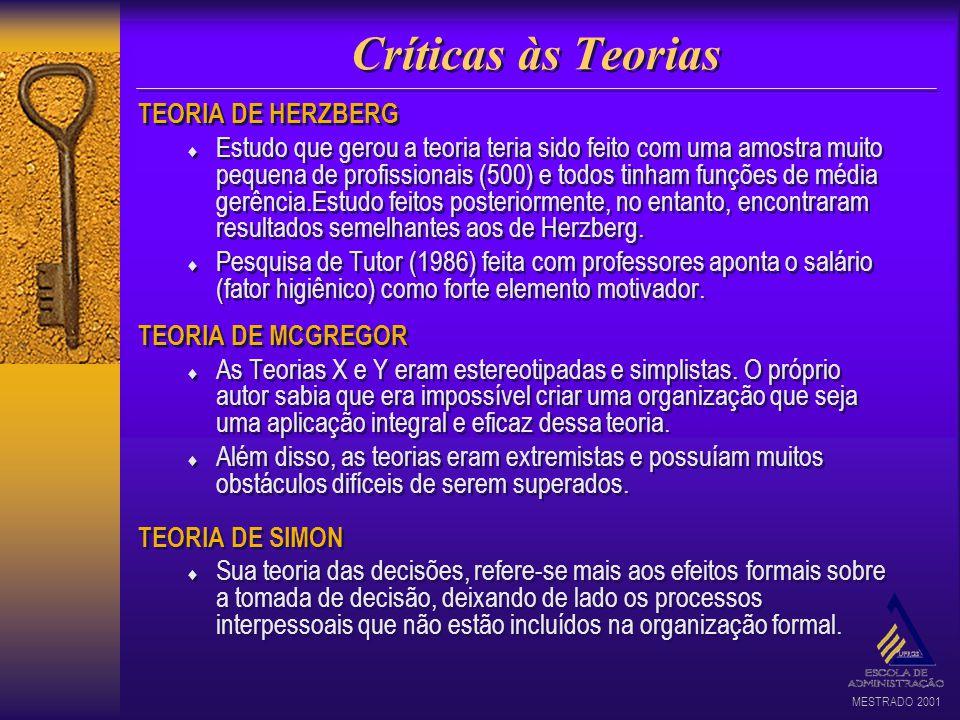MESTRADO 2001 Críticas às Teorias TEORIA DE HERZBERG Estudo que gerou a teoria teria sido feito com uma amostra muito pequena de profissionais (500) e