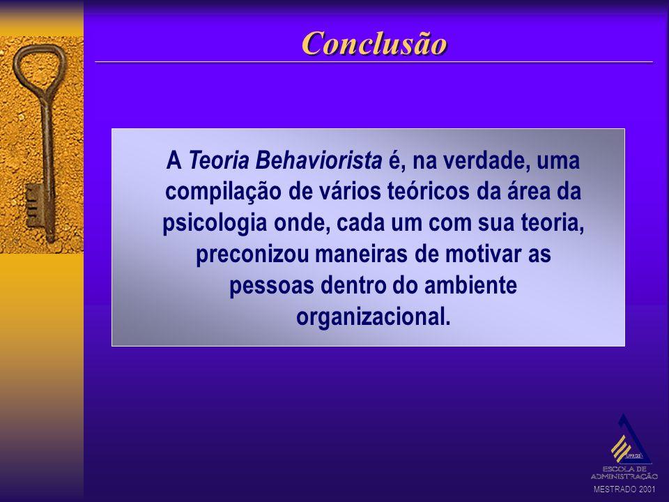 MESTRADO 2001 Conclusão A Teoria Behaviorista é, na verdade, uma compilação de vários teóricos da área da psicologia onde, cada um com sua teoria, pre