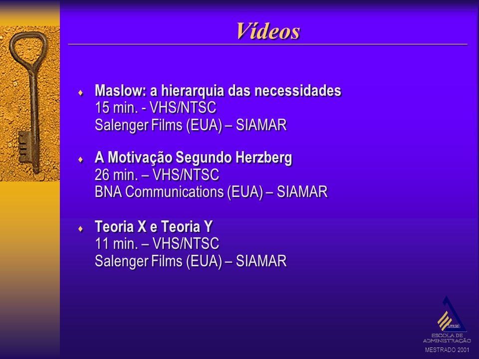 MESTRADO 2001 Vídeos Maslow: a hierarquia das necessidades 15 min. - VHS/NTSC Salenger Films (EUA) – SIAMAR A Motivação Segundo Herzberg 26 min. – VHS