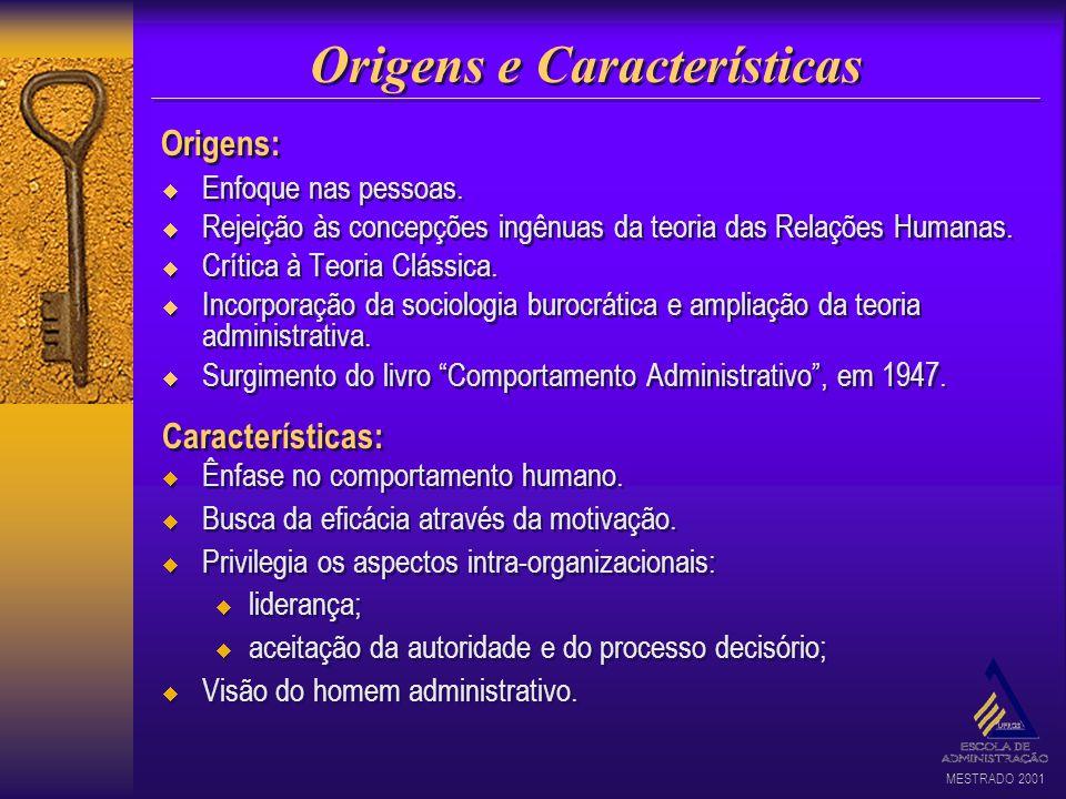 MESTRADO 2001 Origens e Características Enfoque nas pessoas. Rejeição às concepções ingênuas da teoria das Relações Humanas. Crítica à Teoria Clássica