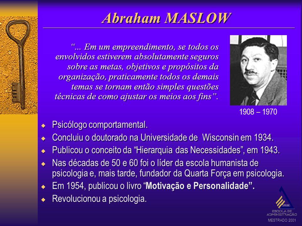 MESTRADO 2001 Abraham MASLOW Psicólogo comportamental. Concluiu o doutorado na Universidade de Wisconsin em 1934. Publicou o conceito da Hierarquia da