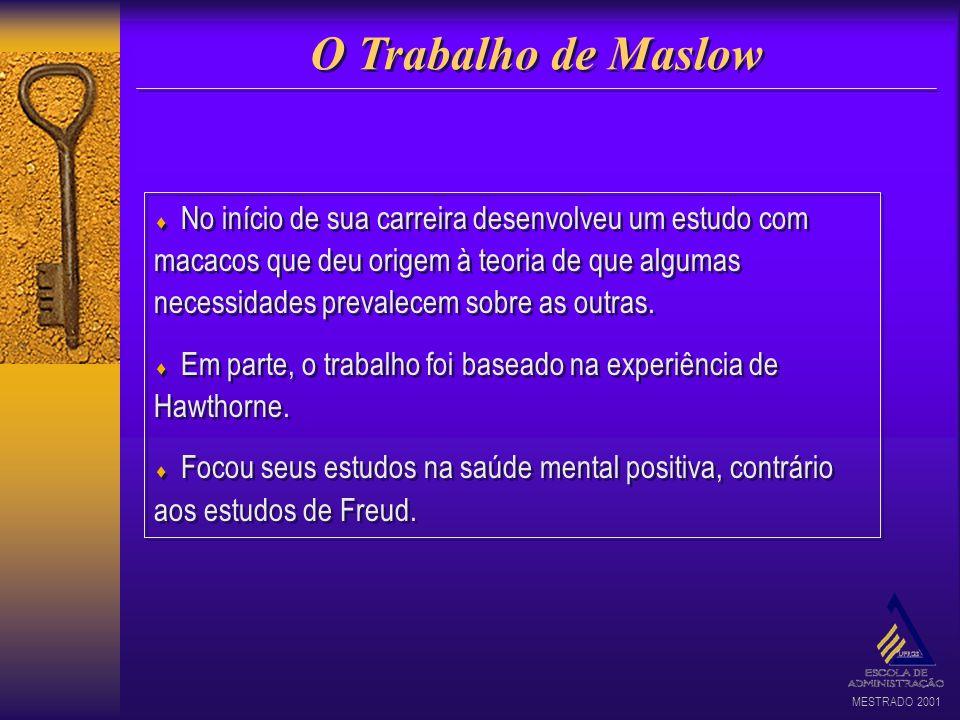 MESTRADO 2001 O Trabalho de Maslow No início de sua carreira desenvolveu um estudo com macacos que deu origem à teoria de que algumas necessidades pre