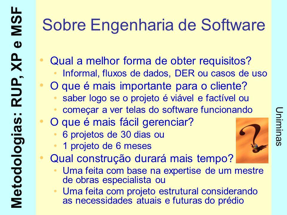 Metodologias: RUP, XP e MSF Uniminas Sobre Engenharia de Software Qual a melhor forma de obter requisitos? Informal, fluxos de dados, DER ou casos de