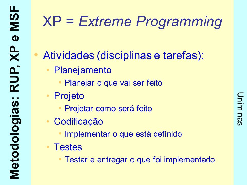 Metodologias: RUP, XP e MSF Uniminas Papéis do XP Programador: Planeja, projeta e codifica códigos Cliente: Conta as estórias dos requisitos e aprova os testes Testador:Executor de testes Rastreador:Procura problemas Treinador:Treina os usuários Consultor:Definidor de requisitos Chefe:Gerente do projeto