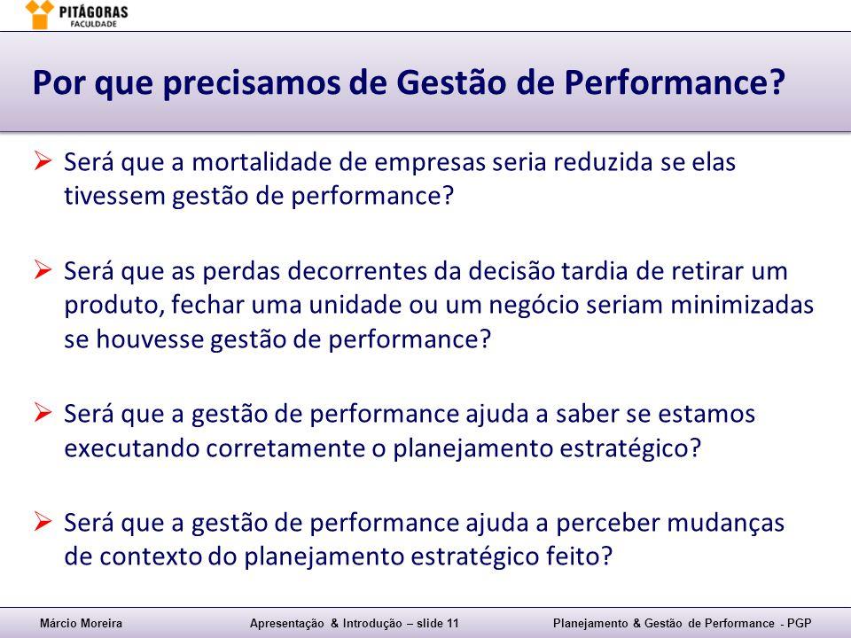Márcio MoreiraApresentação & Introdução – slide 11Planejamento & Gestão de Performance - PGP Por que precisamos de Gestão de Performance? Será que a m