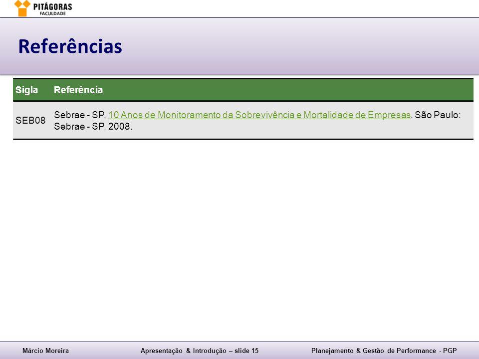 Márcio MoreiraApresentação & Introdução – slide 15Planejamento & Gestão de Performance - PGP Referências SiglaReferência SEB08 Sebrae - SP. 10 Anos de