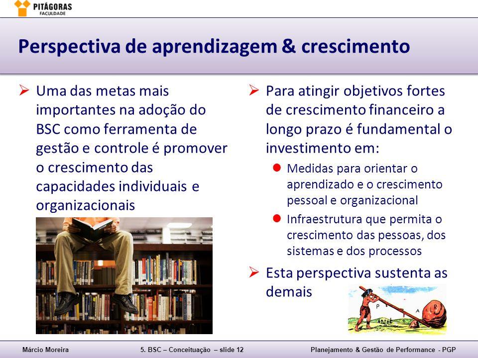 Márcio Moreira5. BSC – Conceituação – slide 12Planejamento & Gestão de Performance - PGP Perspectiva de aprendizagem & crescimento Uma das metas mais