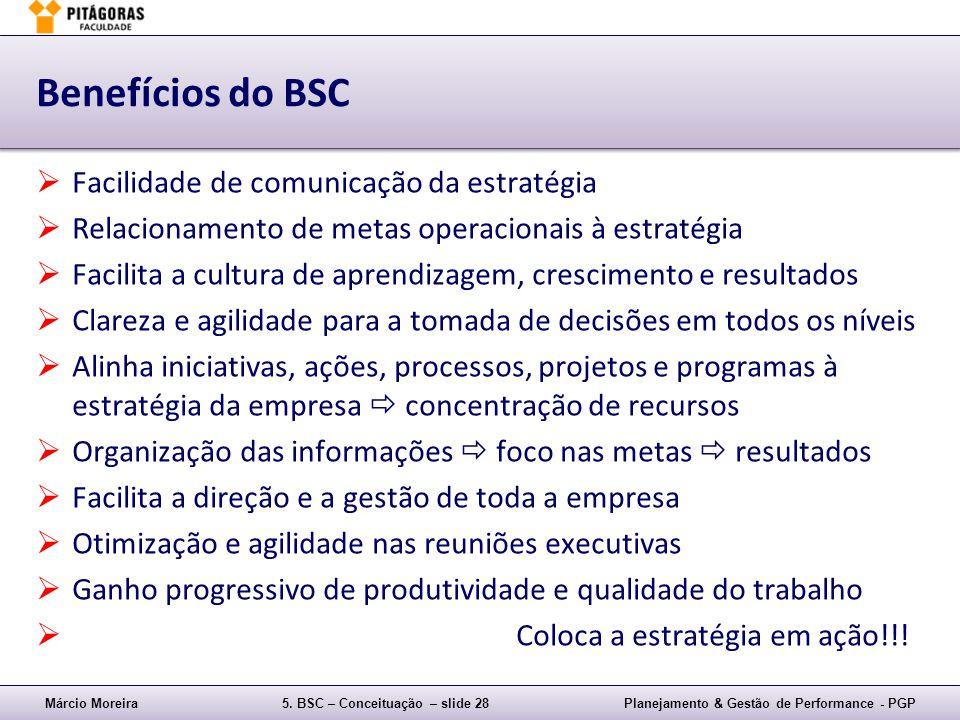 Márcio Moreira5. BSC – Conceituação – slide 28Planejamento & Gestão de Performance - PGP Benefícios do BSC Facilidade de comunicação da estratégia Rel