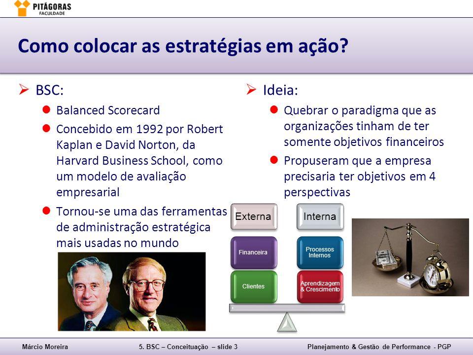 Márcio Moreira5. BSC – Conceituação – slide 3Planejamento & Gestão de Performance - PGP Como colocar as estratégias em ação? BSC: Balanced Scorecard C