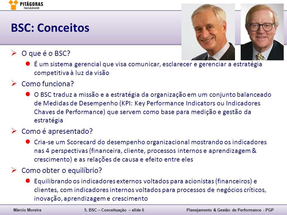 Márcio Moreira5. BSC – Conceituação – slide 6Planejamento & Gestão de Performance - PGP BSC: Conceitos O que é o BSC? É um sistema gerencial que visa