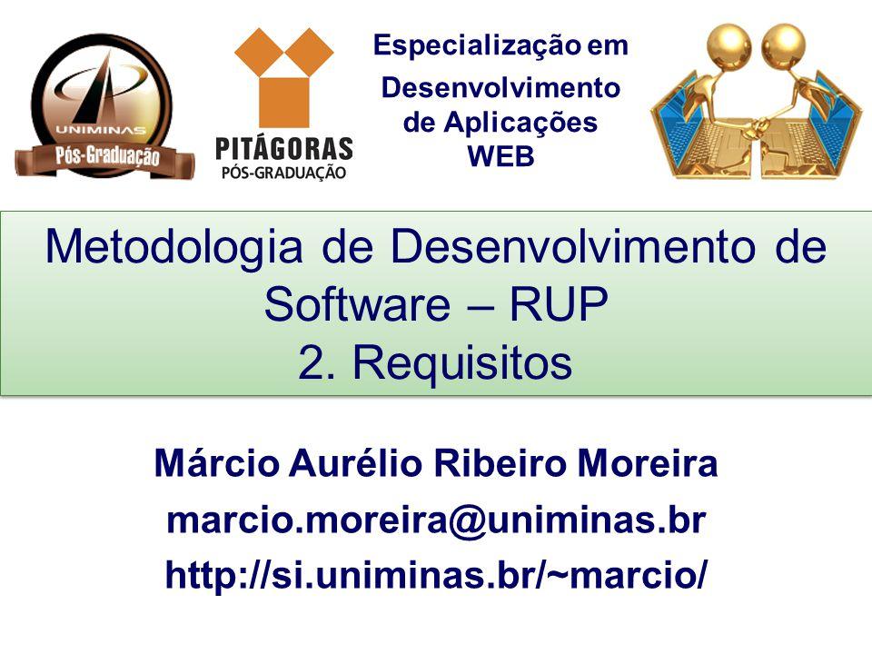 Especialização em Desenvolvimento de Aplicações WEB Metodologia de Desenvolvimento de Software – RUP 2. Requisitos Márcio Aurélio Ribeiro Moreira marc