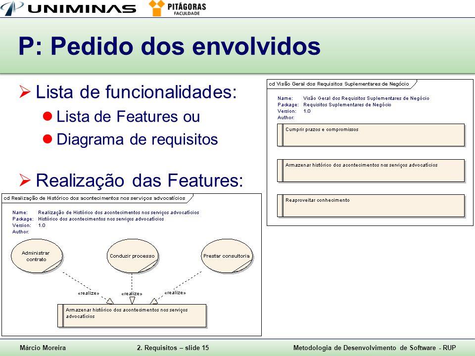 Márcio Moreira2. Requisitos – slide 15Metodologia de Desenvolvimento de Software - RUP P: Pedido dos envolvidos Lista de funcionalidades: Lista de Fea