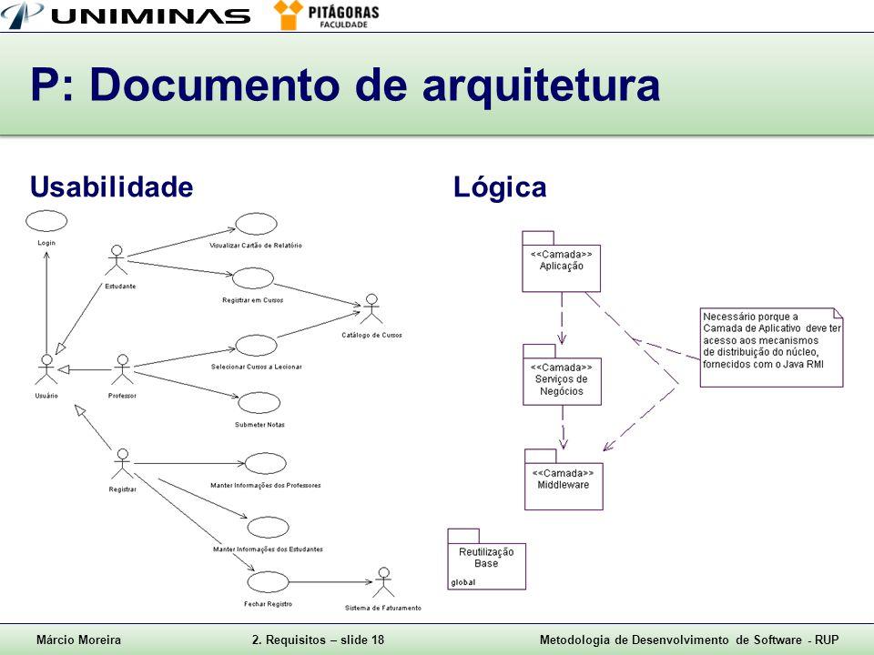 Márcio Moreira2. Requisitos – slide 18Metodologia de Desenvolvimento de Software - RUP P: Documento de arquitetura UsabilidadeLógica