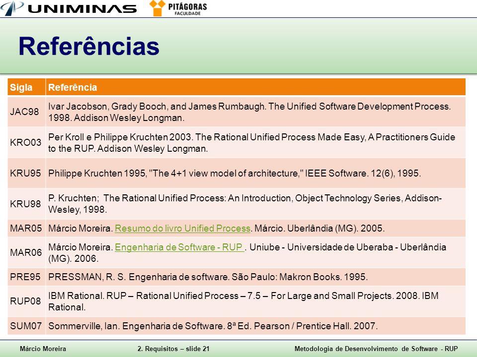 Márcio Moreira2. Requisitos – slide 21Metodologia de Desenvolvimento de Software - RUP Referências SiglaReferência JAC98 Ivar Jacobson, Grady Booch, a