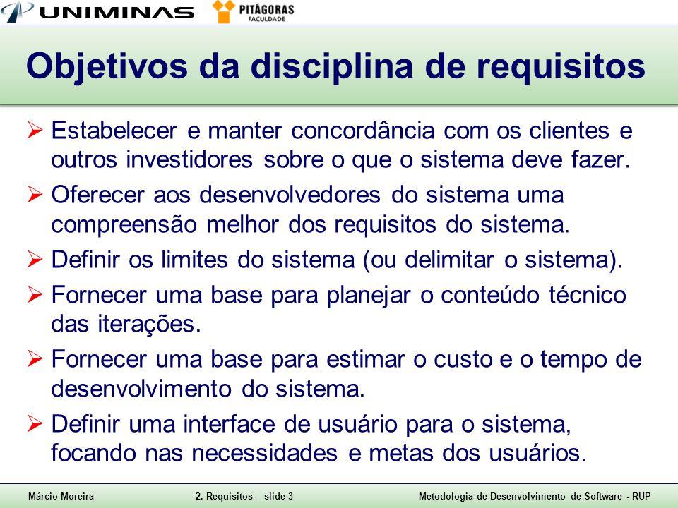 Márcio Moreira2. Requisitos – slide 3Metodologia de Desenvolvimento de Software - RUP Objetivos da disciplina de requisitos Estabelecer e manter conco