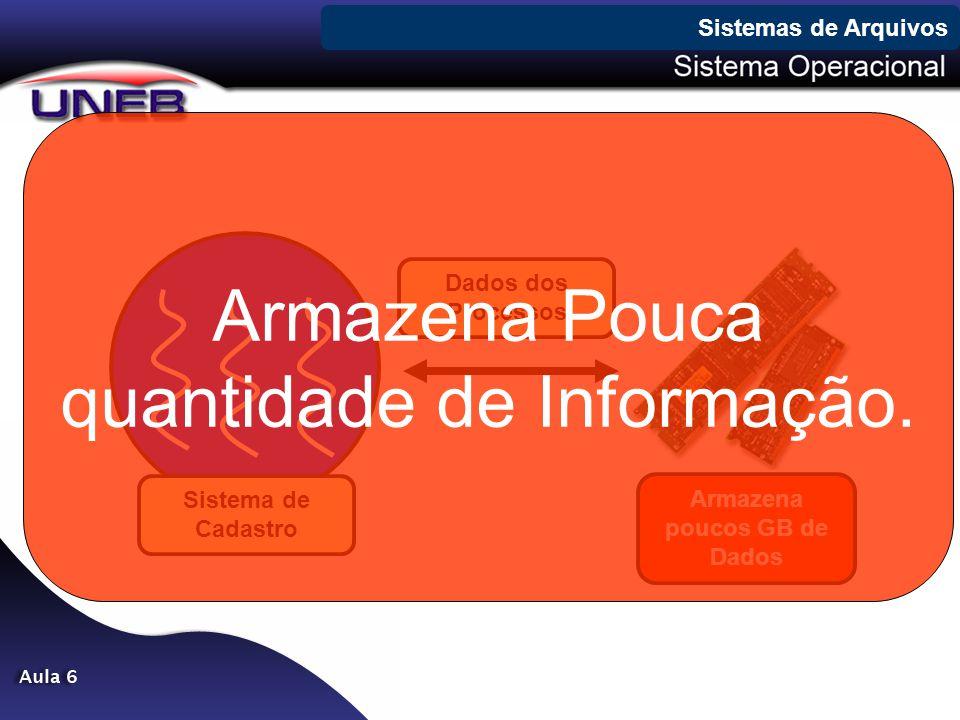 Sistemas de Arquivos Dados dos Processos Sistema de Cadastro Armazena poucos GB de Dados Armazena Pouca quantidade de Informação.